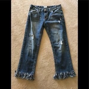Kylie boyfriend distressed jeans with custom fray
